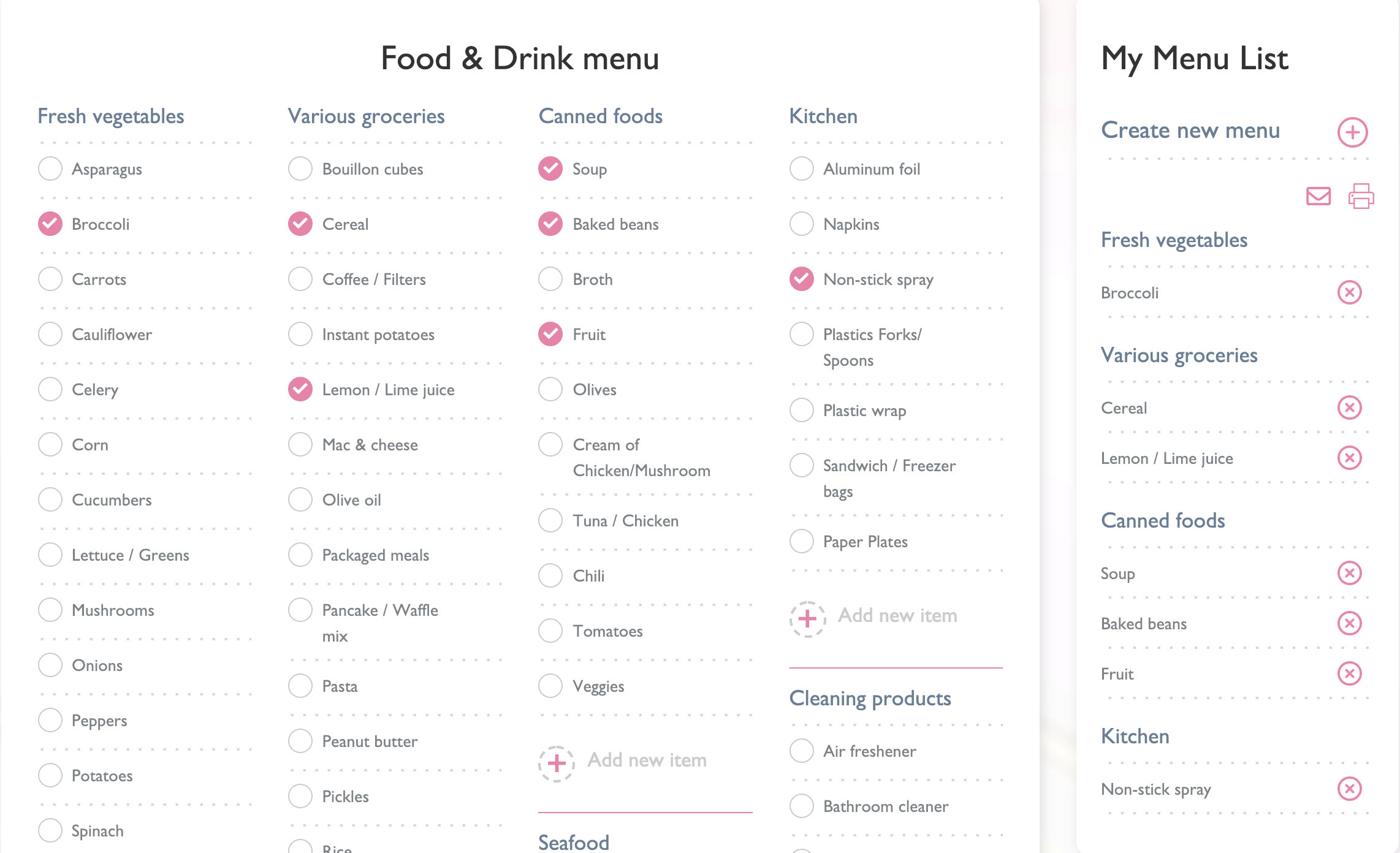 Easy Make Food and Drink lists and share with others